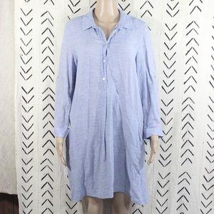 ZARA Basic Button Down Shirt Dress Pockets Large